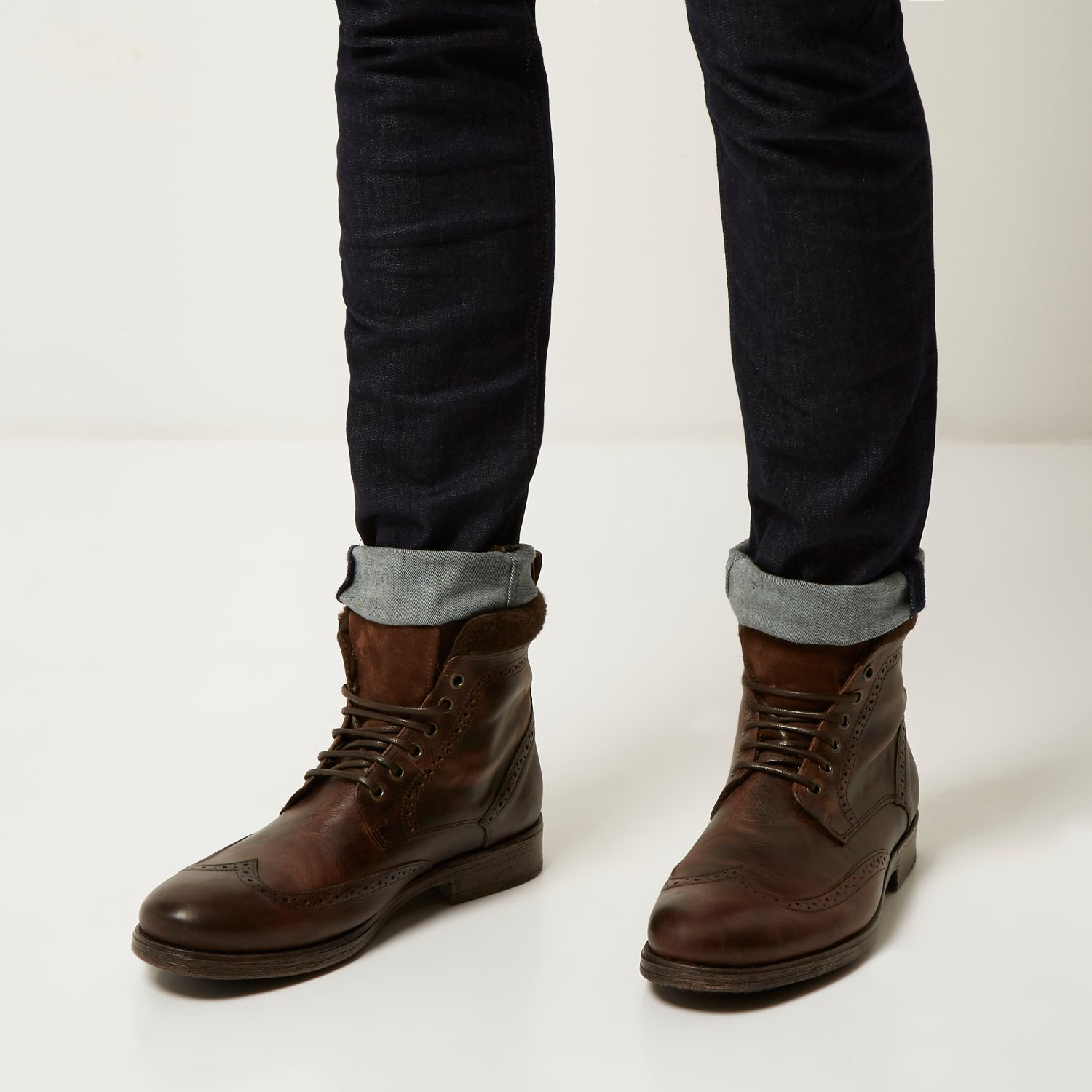 4506421472cd1 Lyst - River Island Brown Leather Brogue Worker Boots in Brown for Men