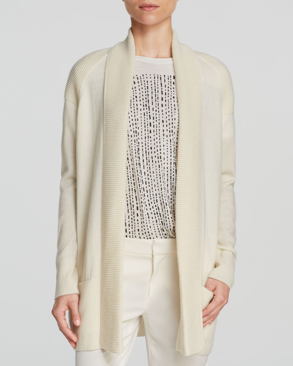 Vince Cardigan - Shawl Collar Wool Cashmere in White | Lyst