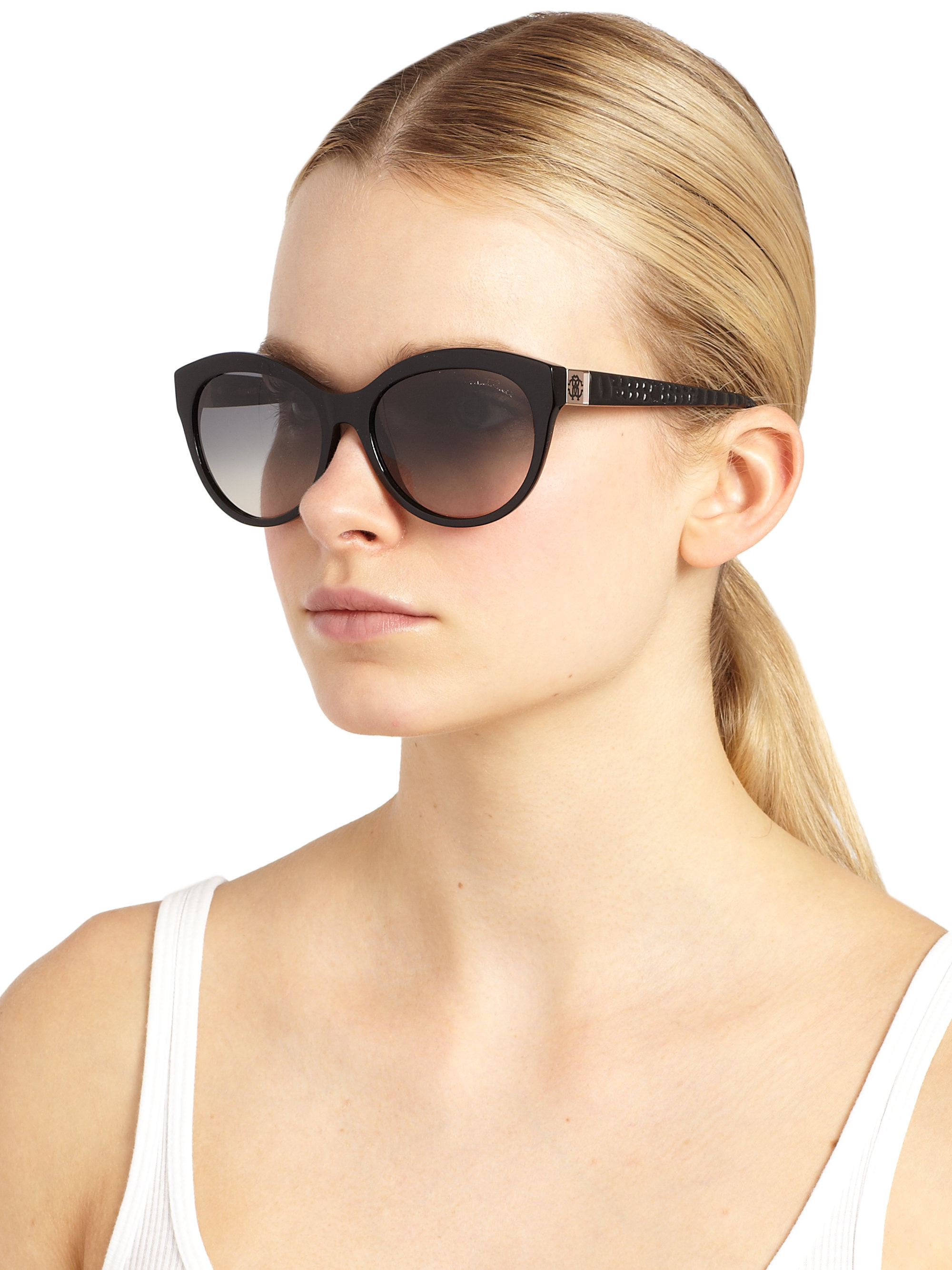 3150a9db1ee4 Roberto Cavalli Albaldah Rounded Cat'S-Eye Sunglasses in Black - Lyst