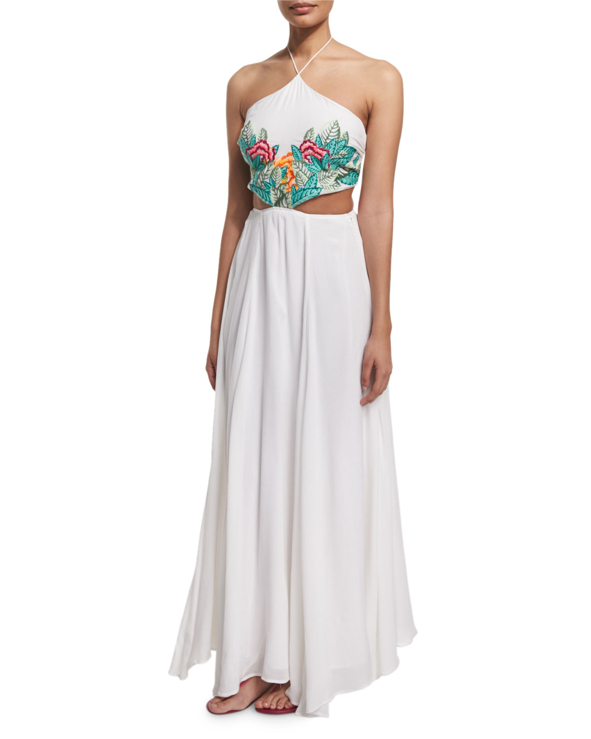 Mara Hoffman Embroidered-leaf Cutout Maxi Dress In White