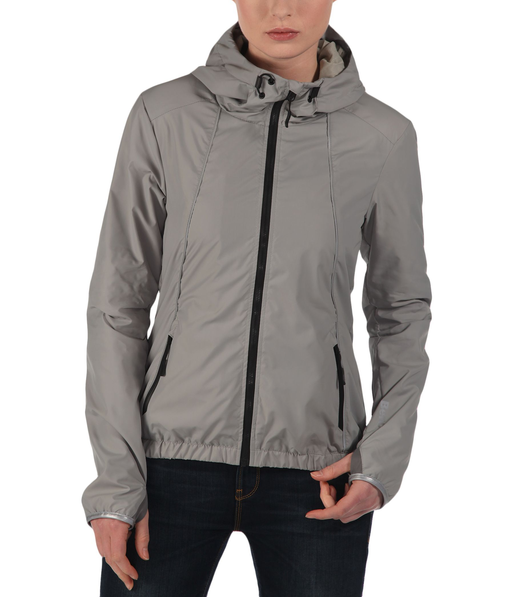 Bench alliance hooded packaway jacket in gray grey lyst Bench jacket