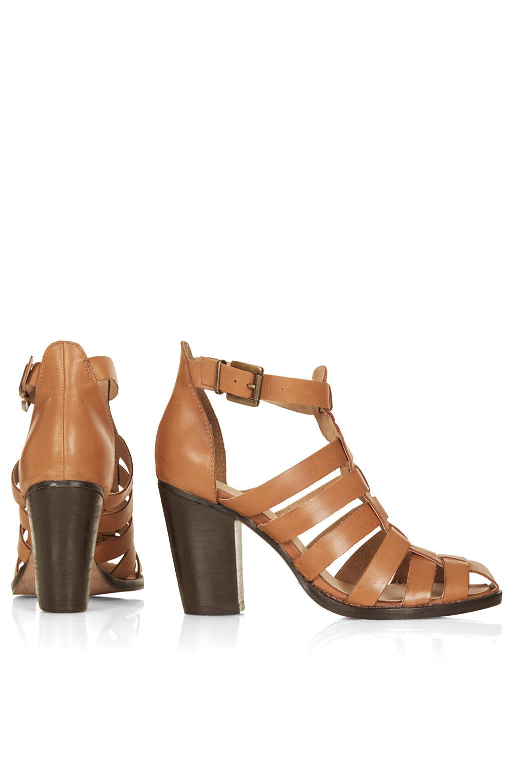 Lyst Topshop Gerrie Block Heel Gladiator Sandals In Brown