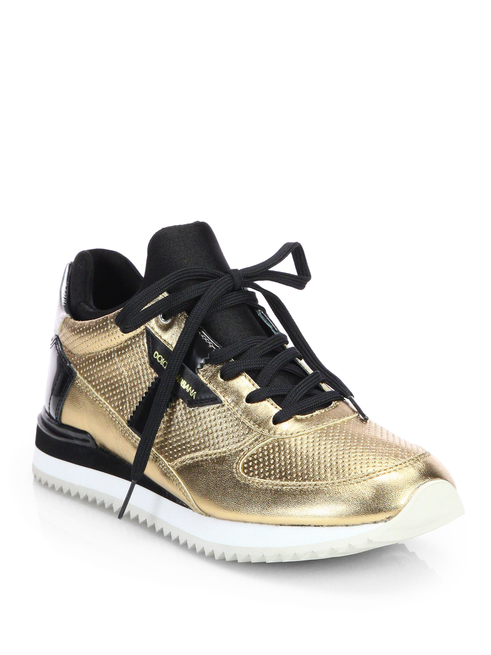 dolce gabbana metallic patent leather lace up sneakers in metallic lyst. Black Bedroom Furniture Sets. Home Design Ideas