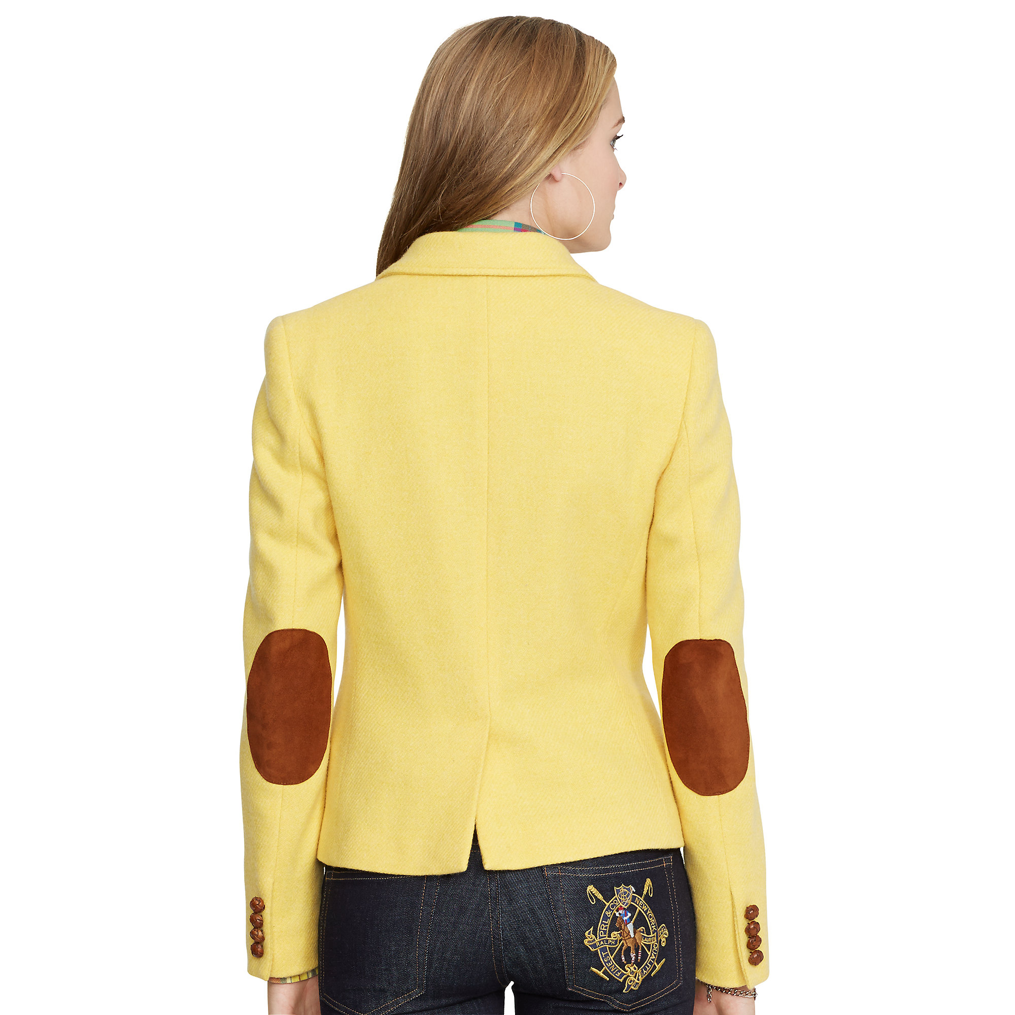Lyst Polo Ralph Lauren Elbow Patch Hacking Jacket In Yellow
