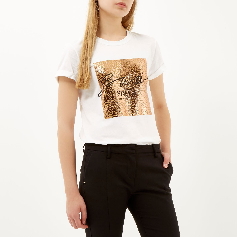 River island White Rose Gold Foil Print Oversized T-Shirt ...