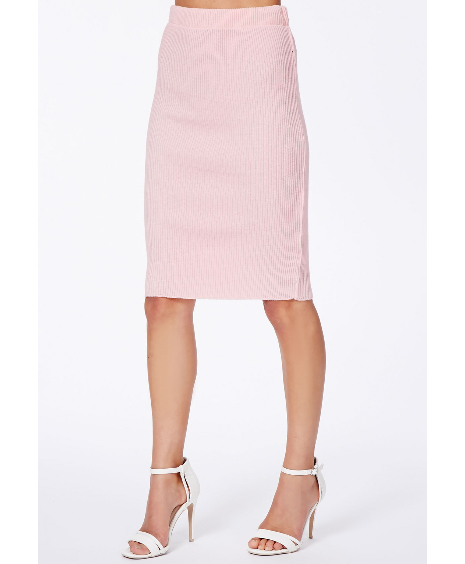 missguided gricka pink ribbed knit midi skirt in pink lyst