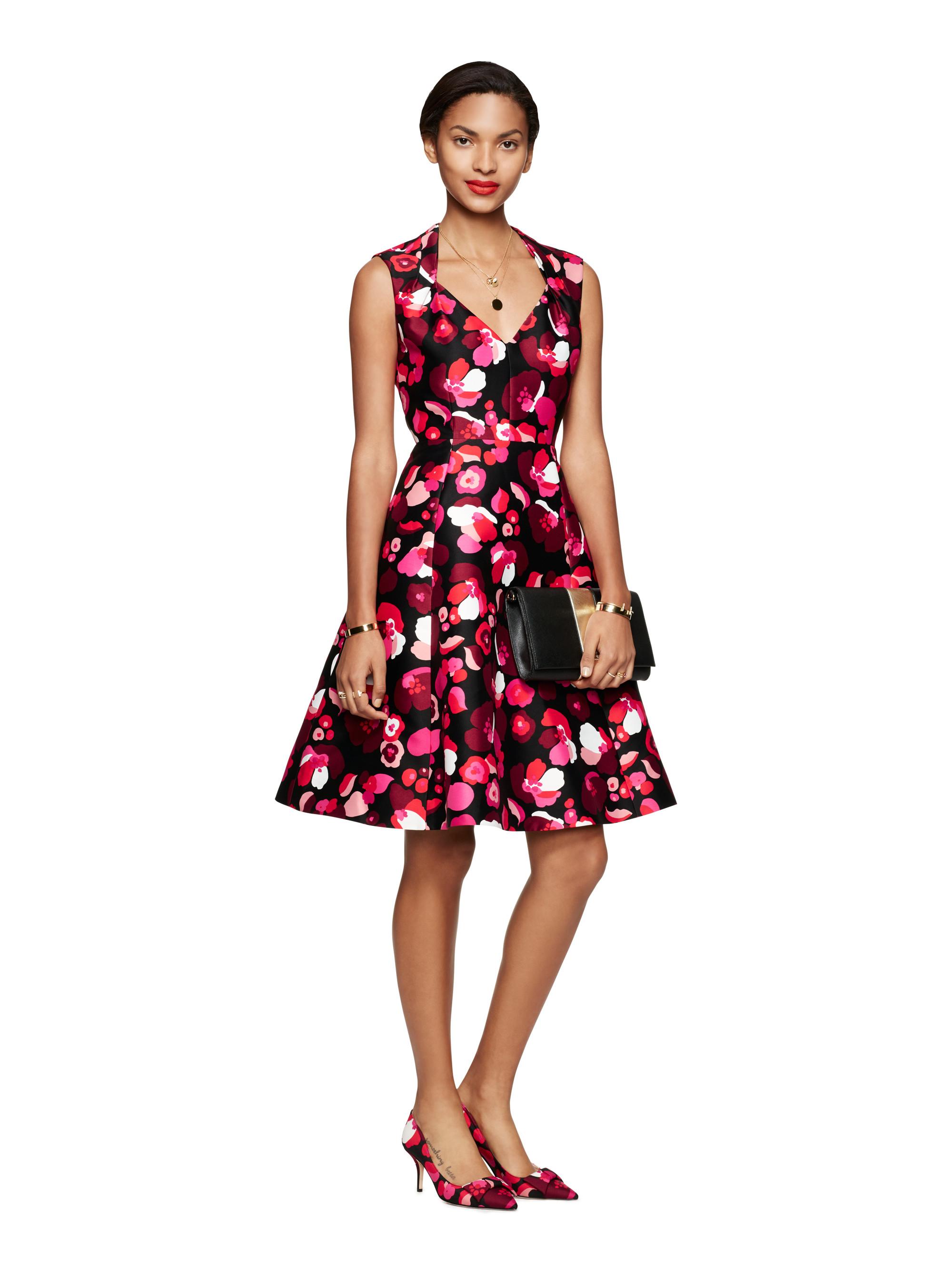 Kate Spade New York Falling Florals V Neck Dress In Black