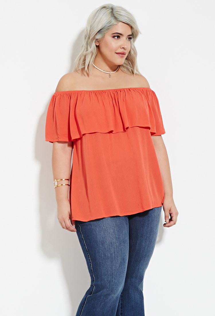 Forever 21 Plus Size Off-the-shoulder Flounce Top in Pink | Lyst