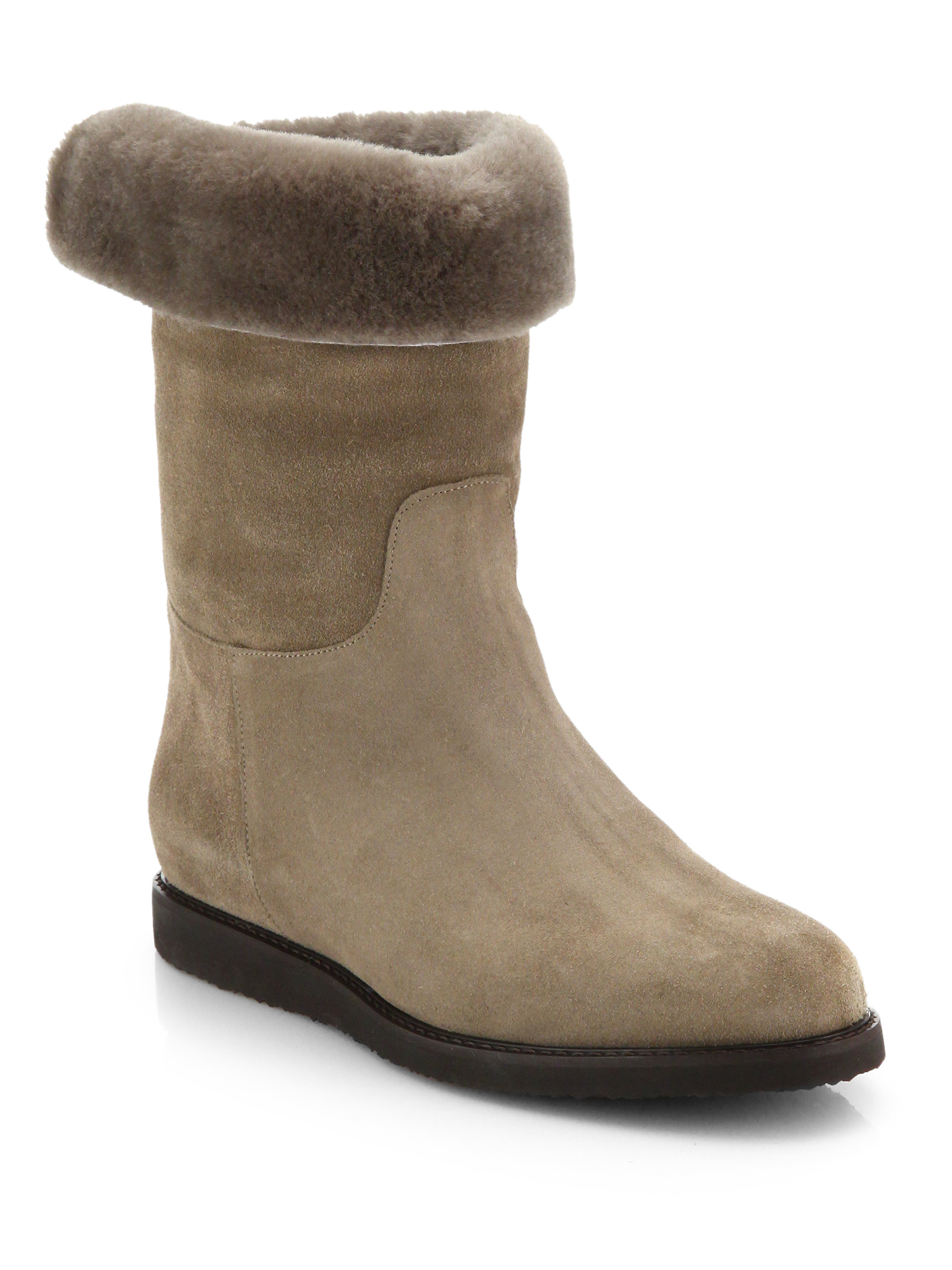 Lyst Ferragamo Suede Calf Hair Midcalf Boot In Natural