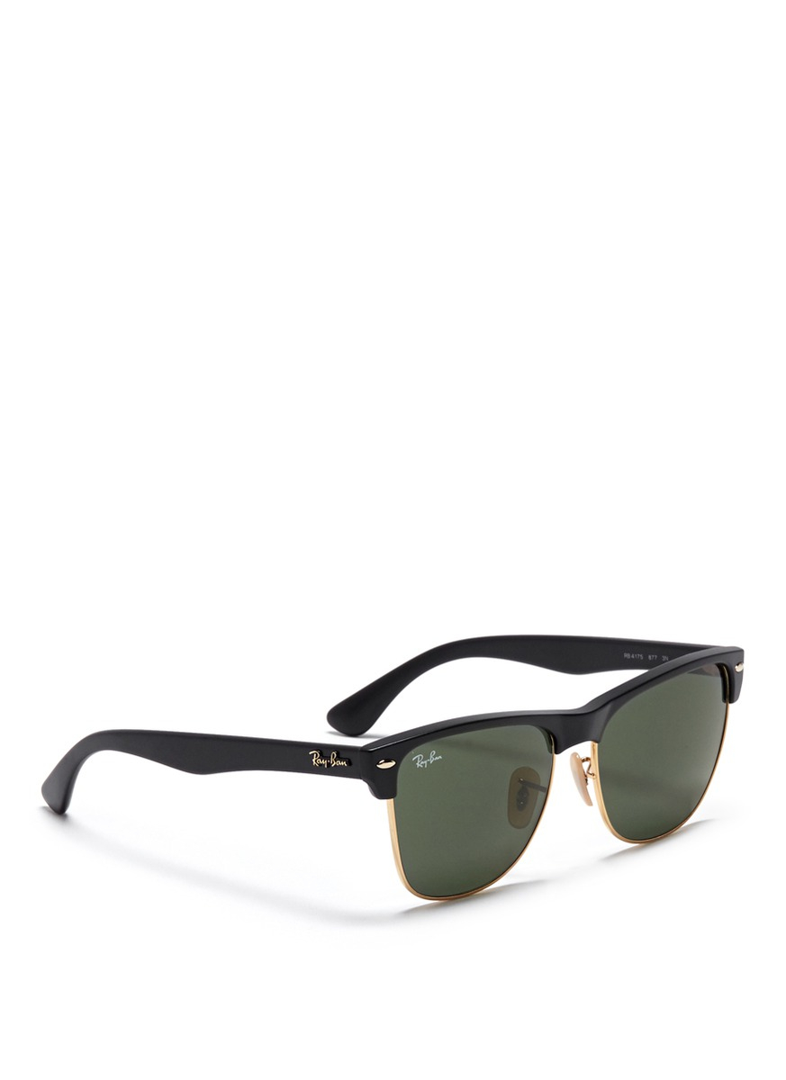 clubmaster acetate sunglasses  Ray-ban \u0027clubmaster\u0027 Matte Acetate Browline Sunglasses in Black ...