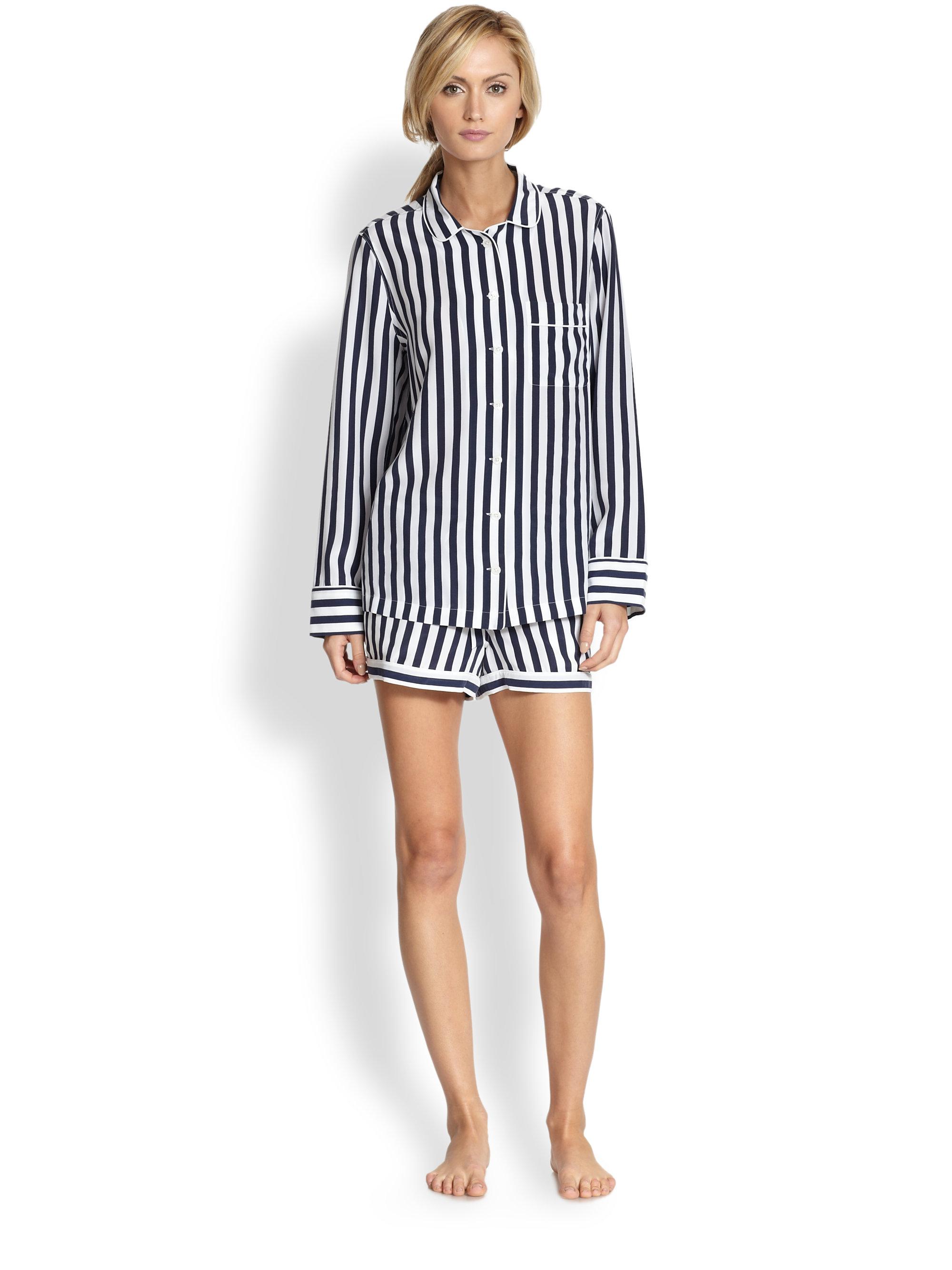 e867635e4e Lyst - Equipment Lillian Striped Silk Pajama Set in Black