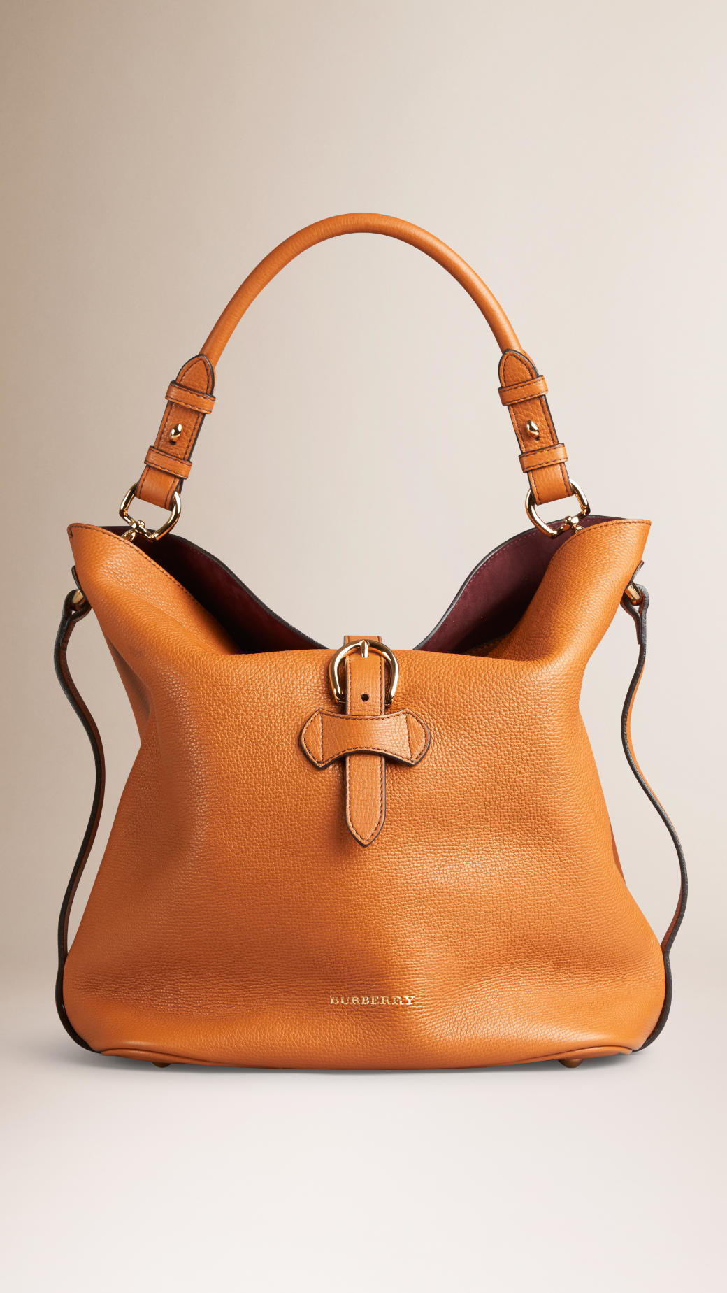 Burberry Medium Buckle Detail Leather Hobo Bag in Brown | Lyst