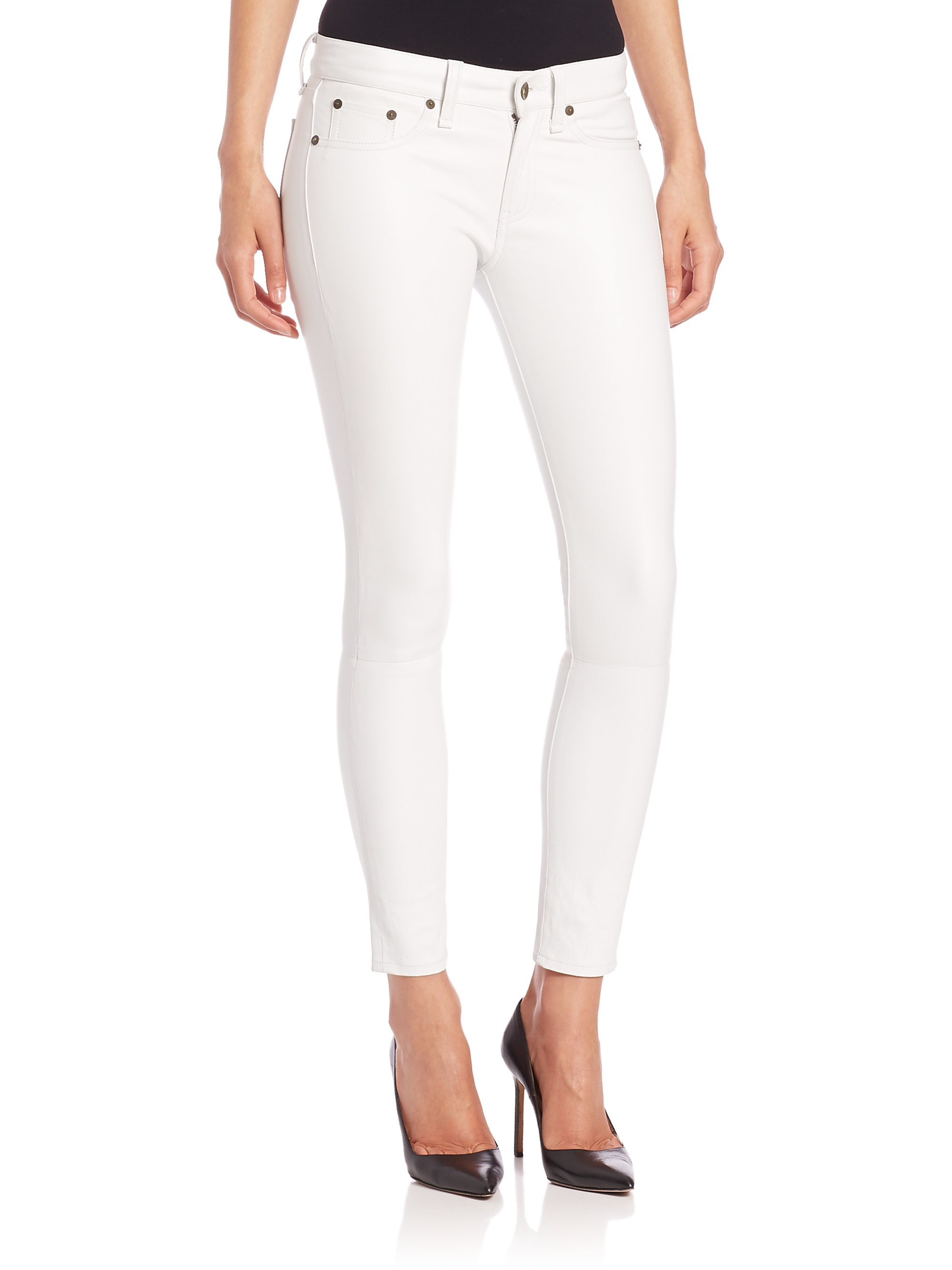 Buy Cheap Big Discount Outlet Collections Rag & Bone Leather Mid-Rise Pants QLunt