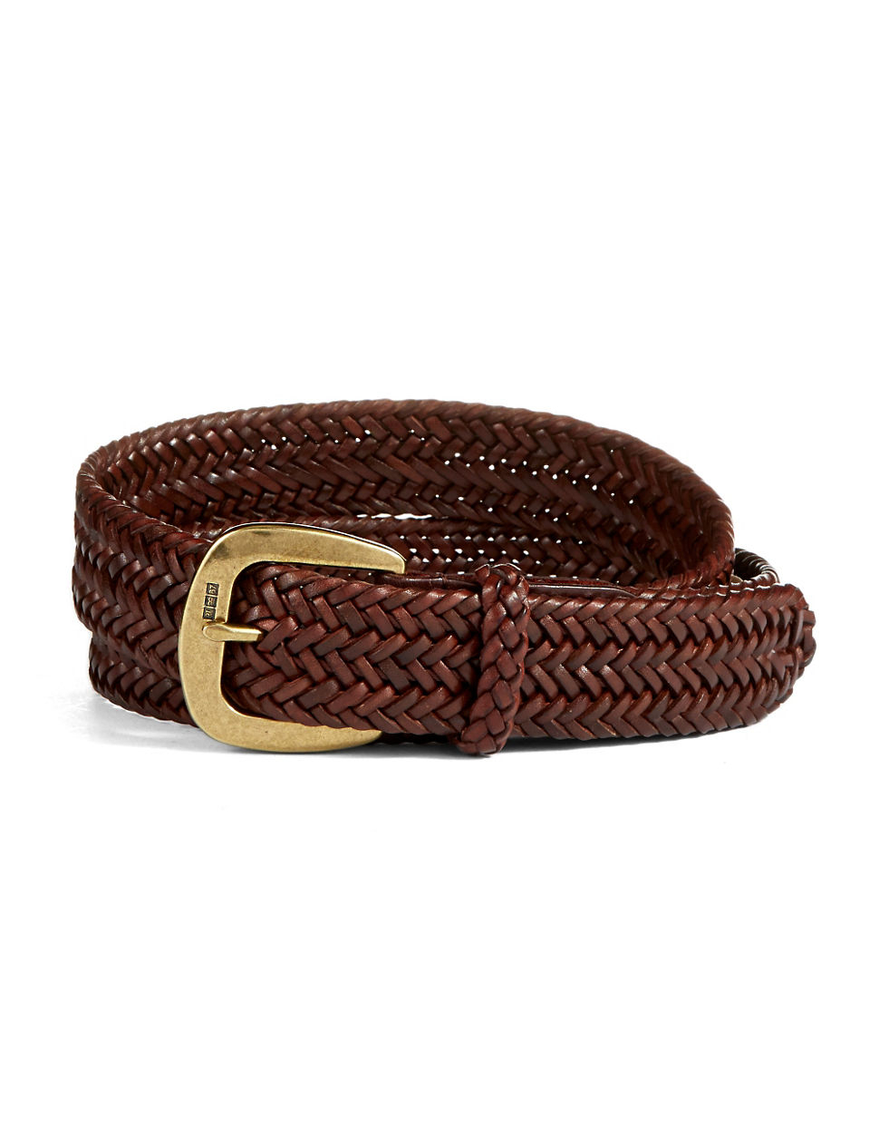 polo ralph derby braid leather belt in brown for
