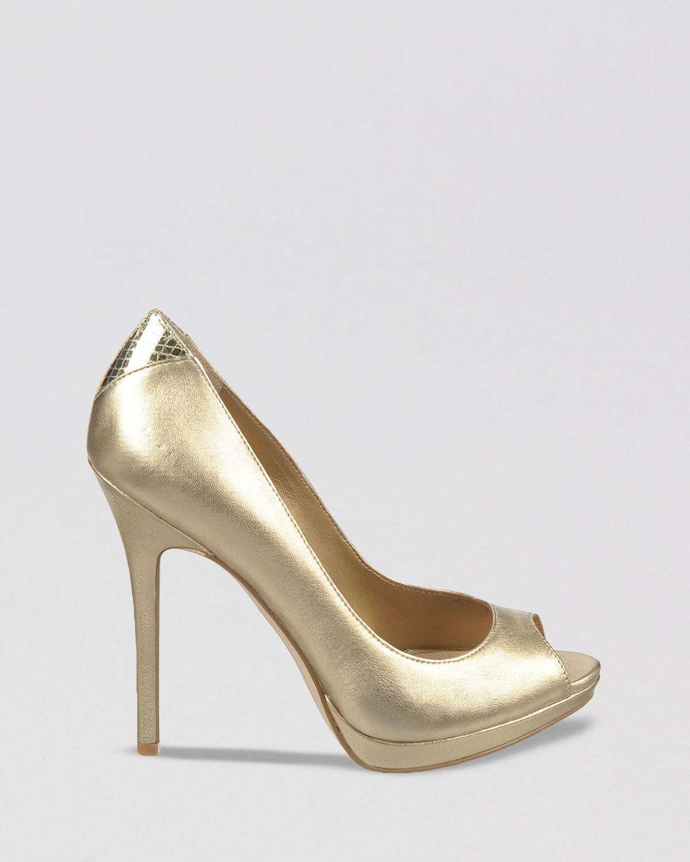 2f2ea3c644b Lyst - Sam Edelman Peep Toe Platform Pumps Ella High Heel in Metallic