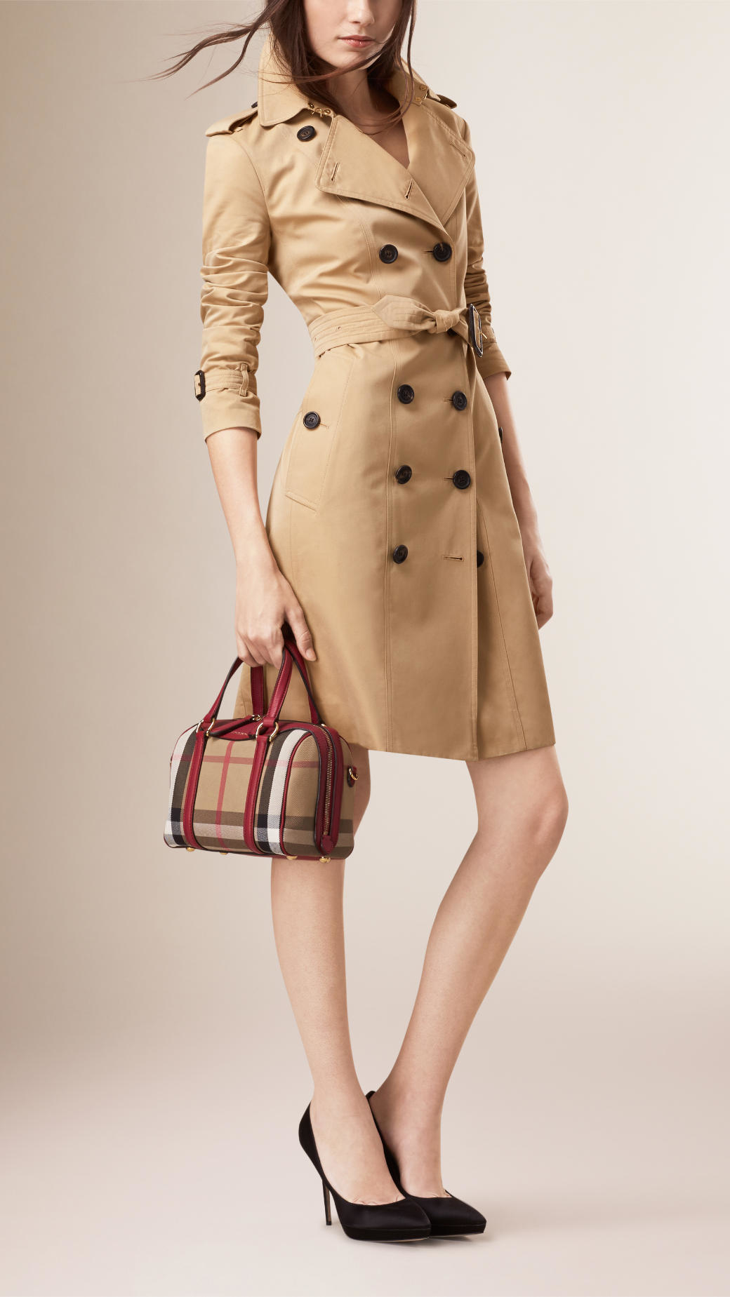 067eff1b86f3 Lyst - Burberry The Small Alchester House Check And Leather Bag in Red