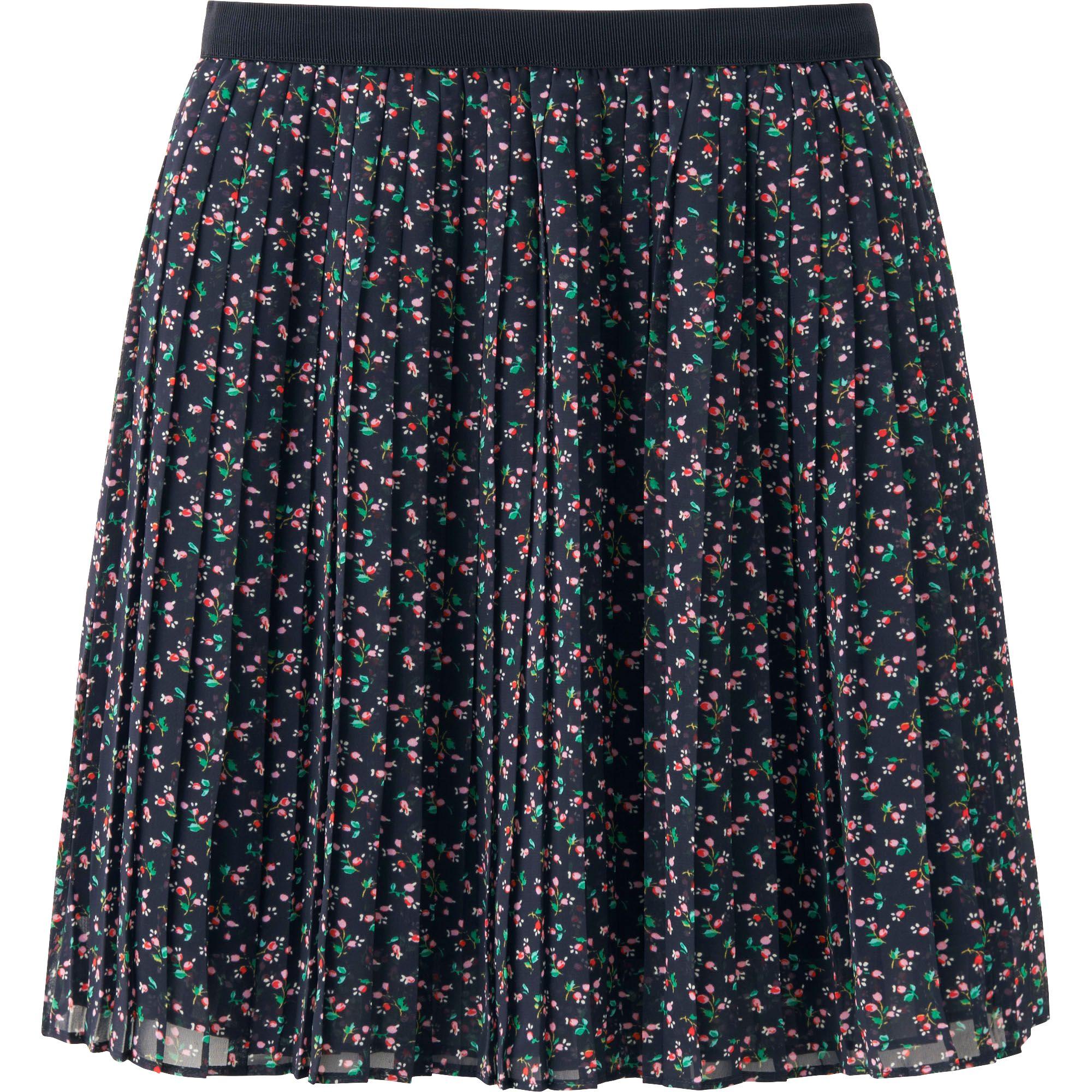 uniqlo chiffon pleated print mini skirt in blue