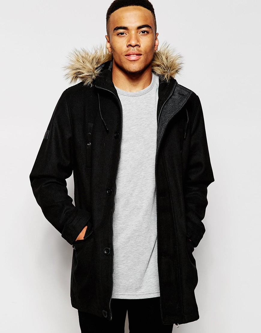 D-struct Nuffield Faux Fur Trim Parka Jacket in Black for Men | Lyst