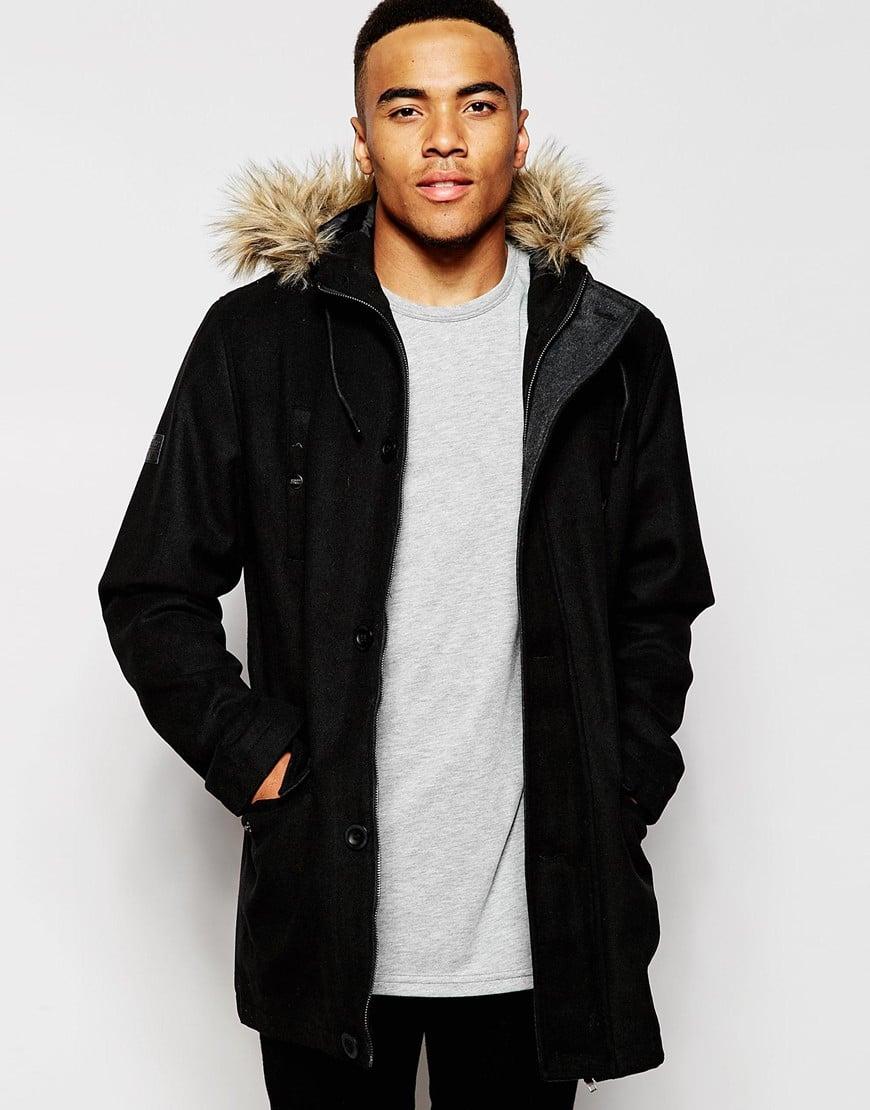 D-struct Nuffield Faux Fur Trim Parka Jacket in Black for Men | Lyst