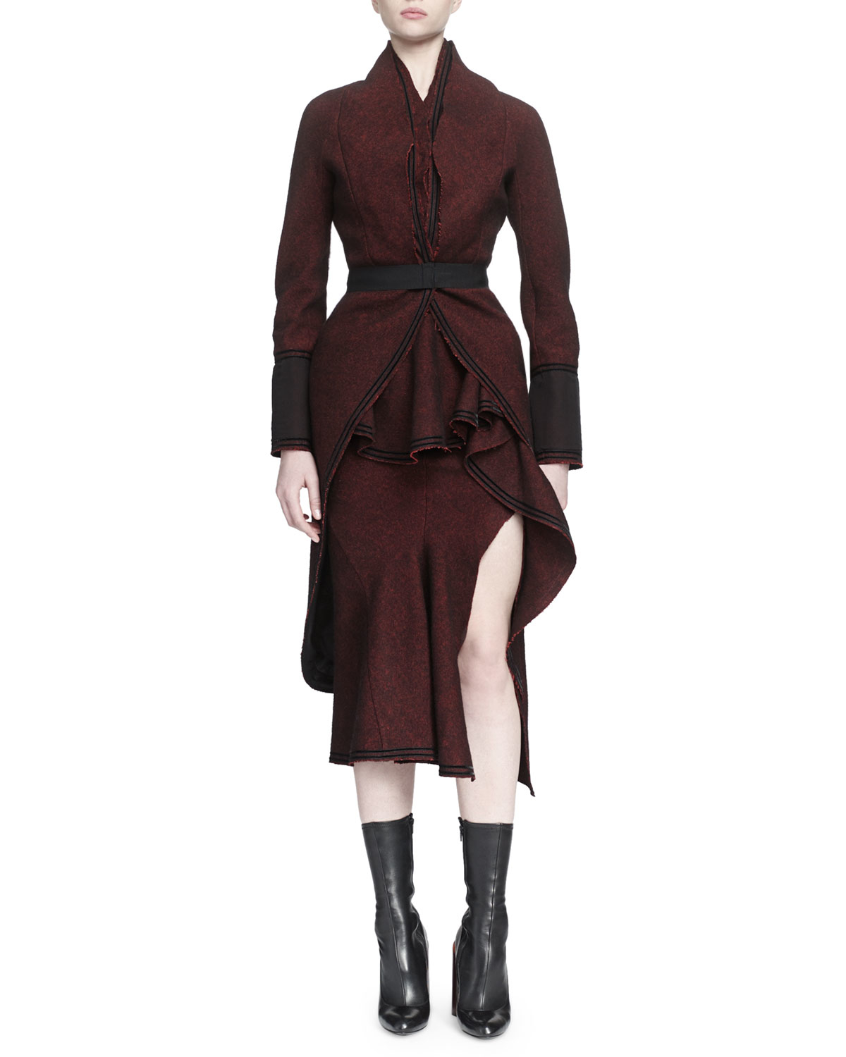 75e354969 Lyst - Givenchy Tweed Tail-Back Belted Coat in Purple