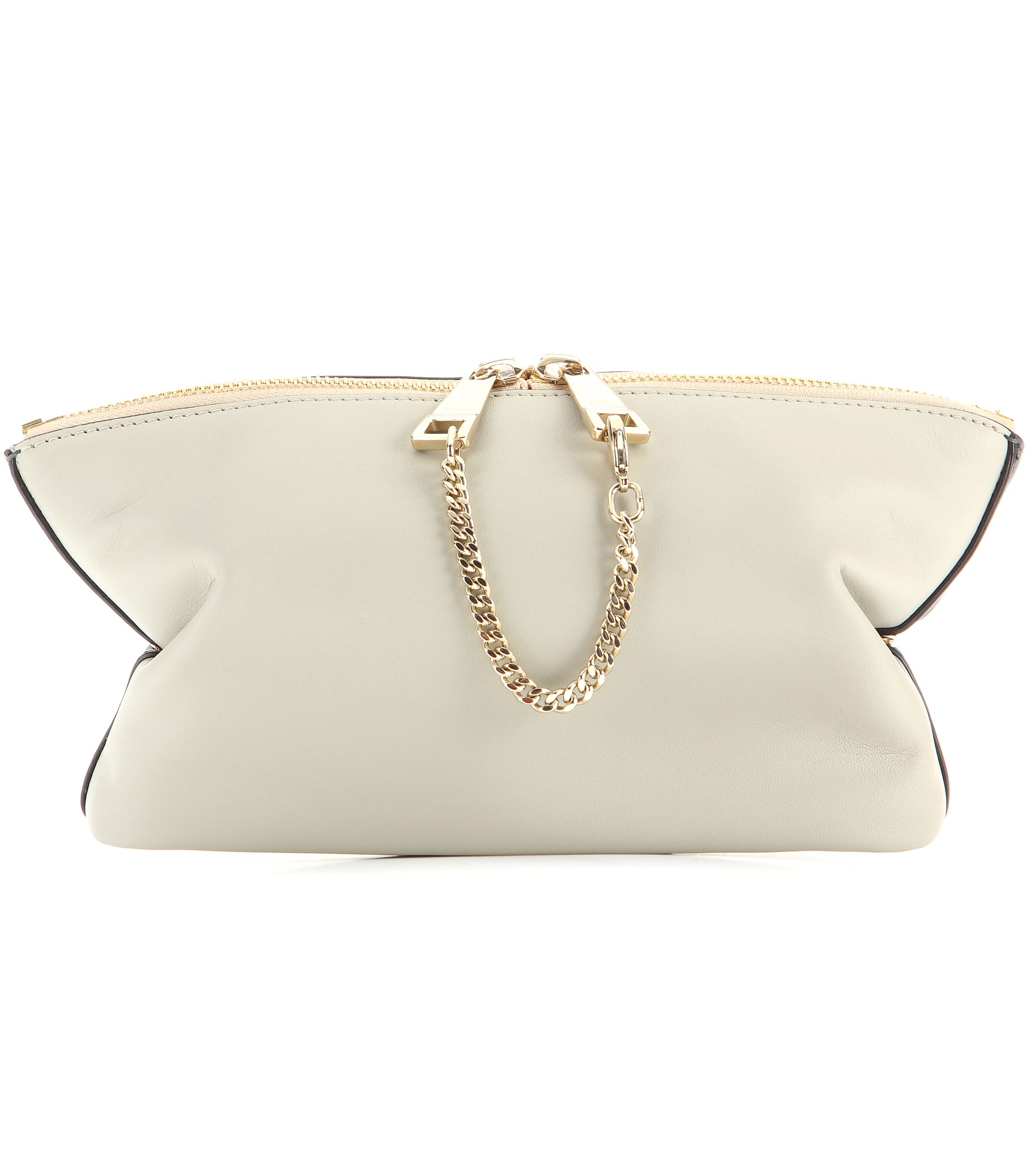 Chlo�� Baylee Leather Pouch in Gray (Marshmallow Grey) | Lyst