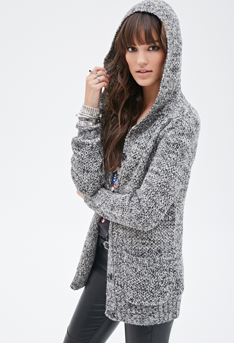 Forever 21 Marled Hooded Cardigan in Gray | Lyst