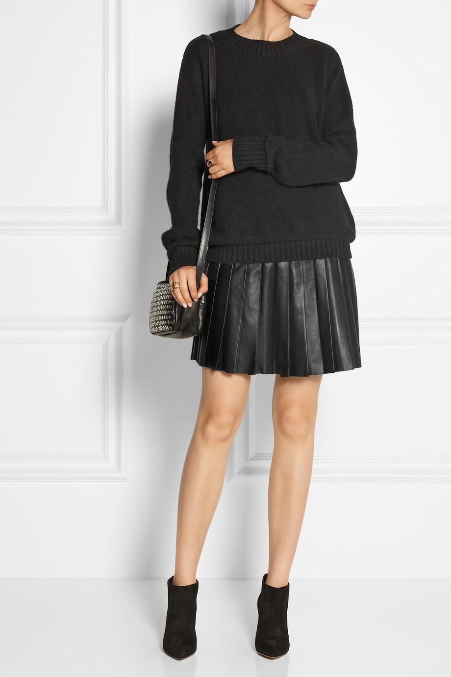 Belstaff Kaddington Pleated Leather Mini Skirt in Black   Lyst