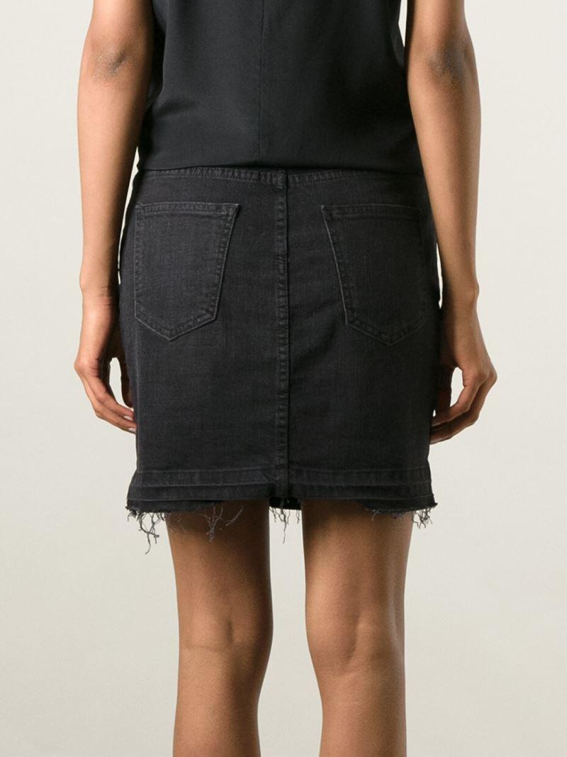 Current/elliott 'The Skinny Mini' Denim Skirt in Black | Lyst