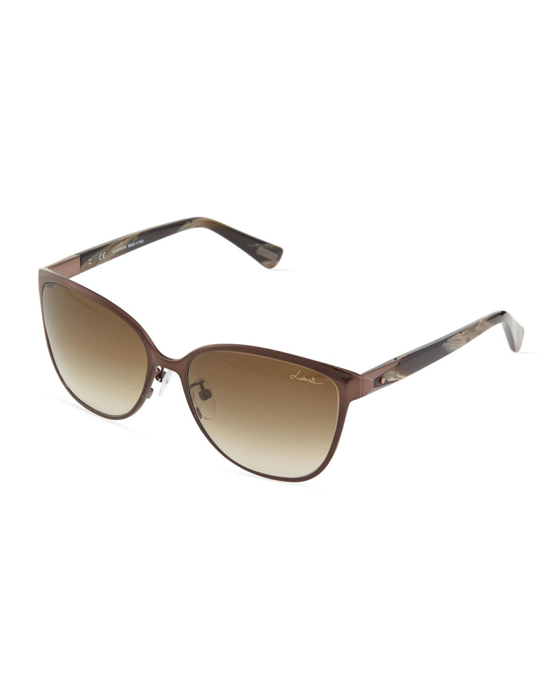 Glasses Frames Plastic Vs Metal : Lanvin Square Metal/plastic Combo Sunglasses in Brown Lyst