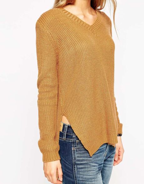 Ultimate Knitting Quiz : Asos ultimate chunky sweater with v neck and side splits