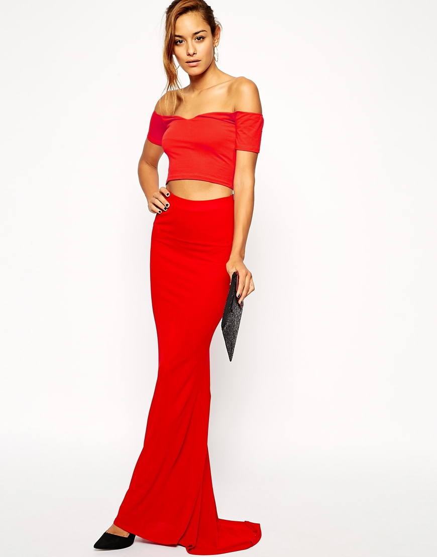Asos Fitted Maxi Skirt In Crepe With Trail in Red | Lyst