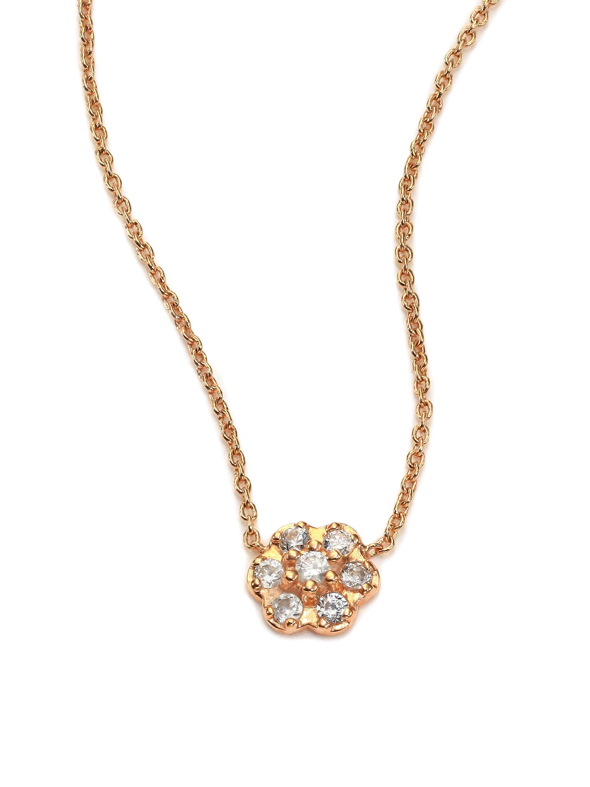 Ginette NY Lotus Mini Diamond gold and diamond neckalce dAQeF2h