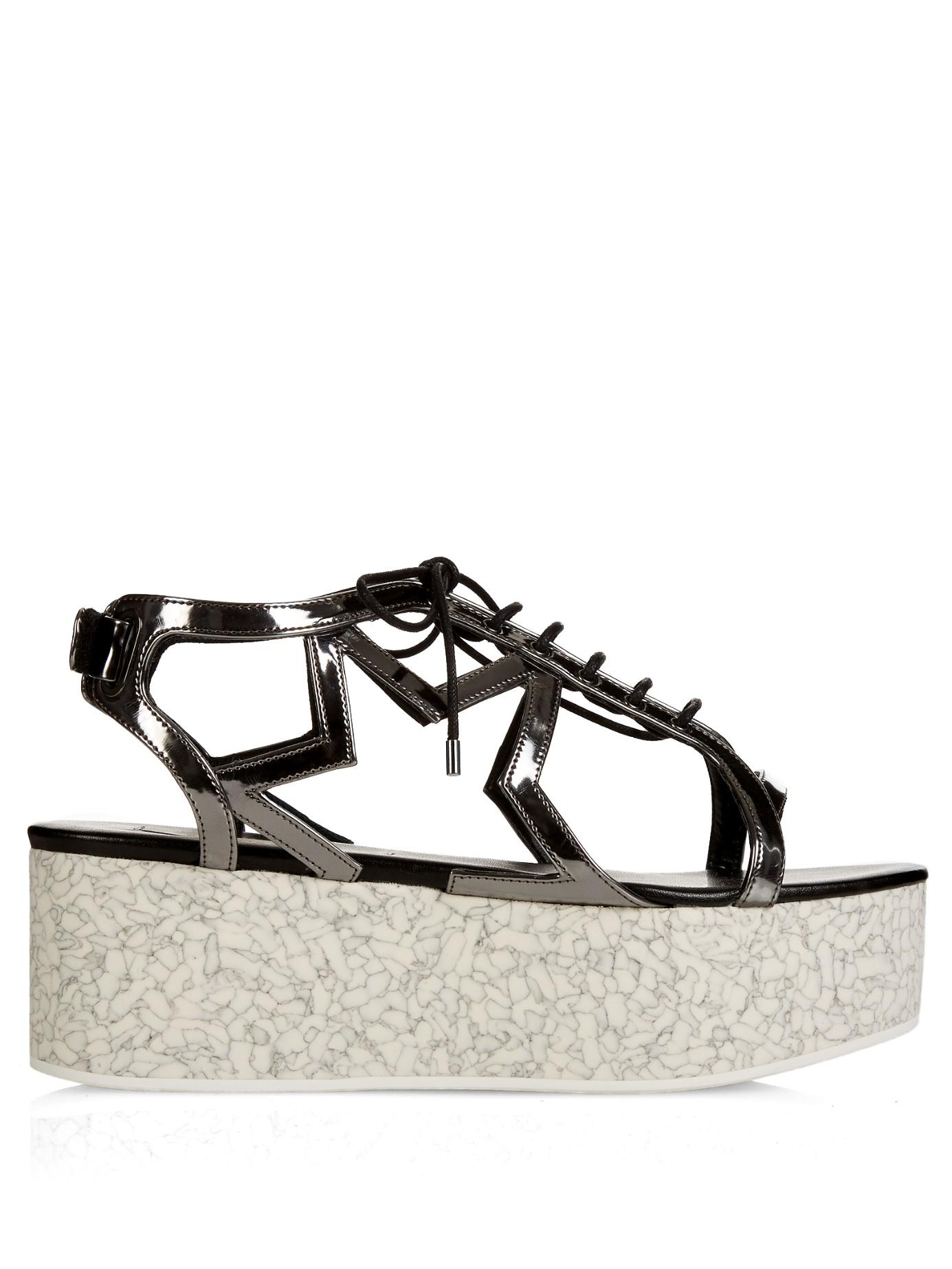 50b88c38c5a2 Stella McCartney Lucy Star Metallic Faux Leather Platform Sandals in ...