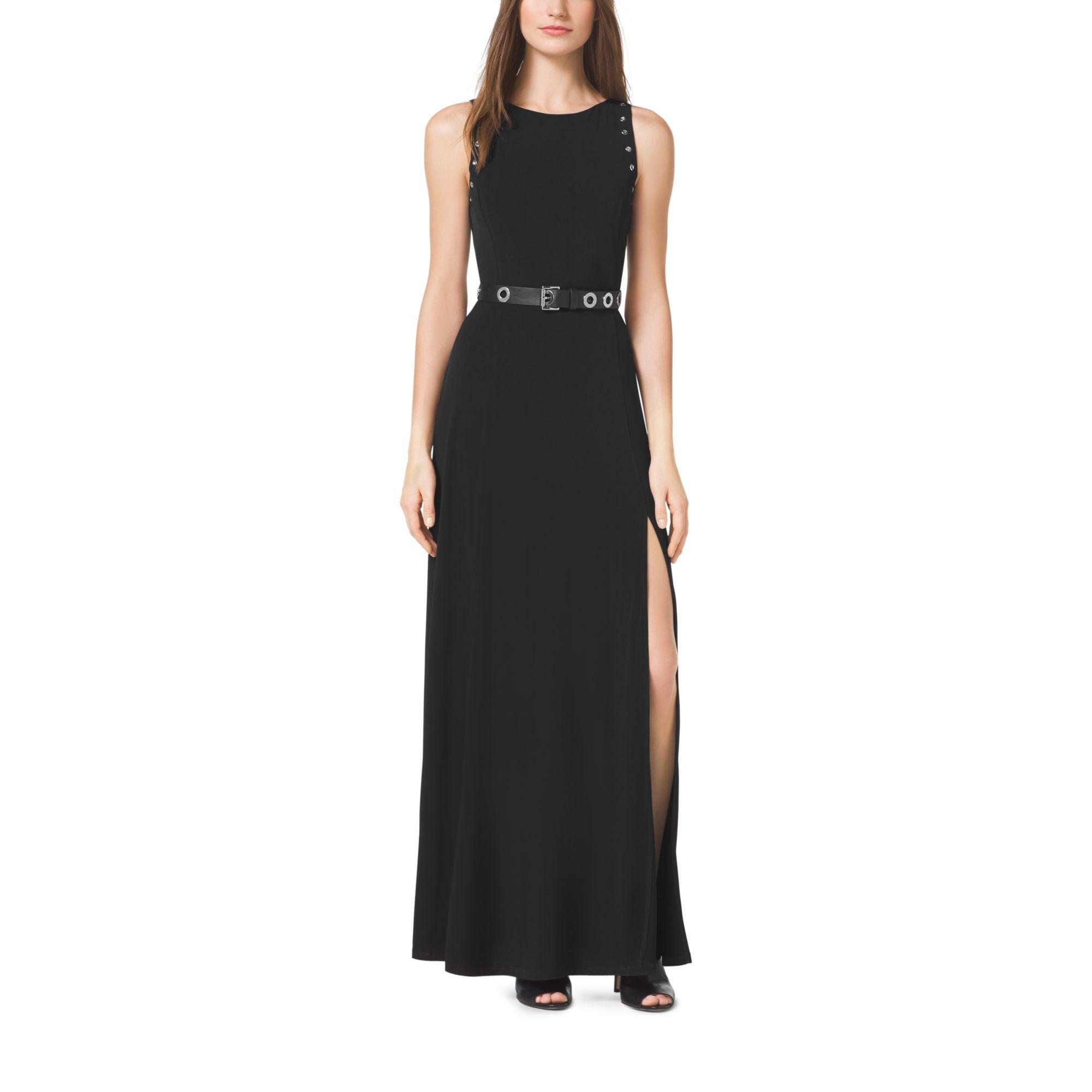 7f0d4815c5 Michael Kors Grommet Belted Maxi Dress in Black - Lyst