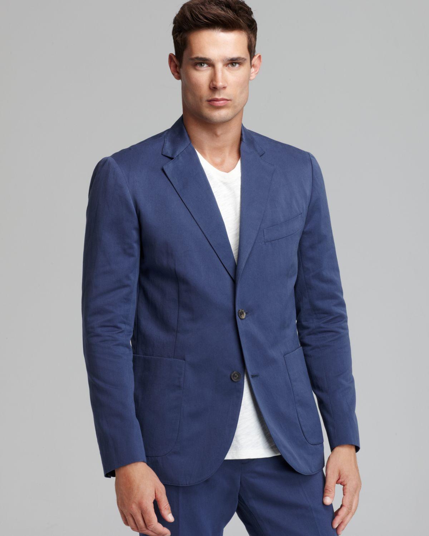 Vince Linen Blend Tailored Sport Coat in Dolphin in Blue for Men ...