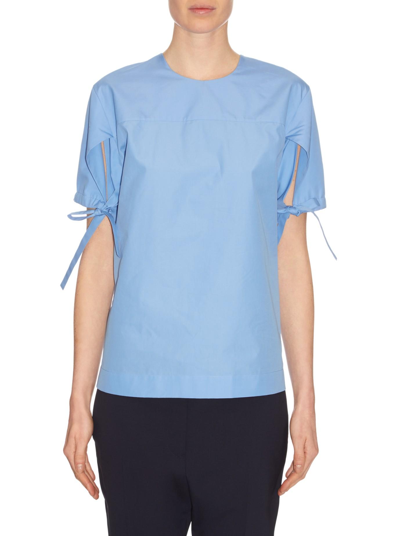 d85579f723 Lyst - Jil Sander Tie-sleeve Cotton-poplin Top in Pink