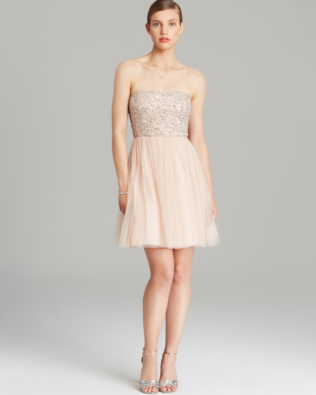 Aidan Mattox Dress Strapless Beaded Bodice Tulle Skirt Fit