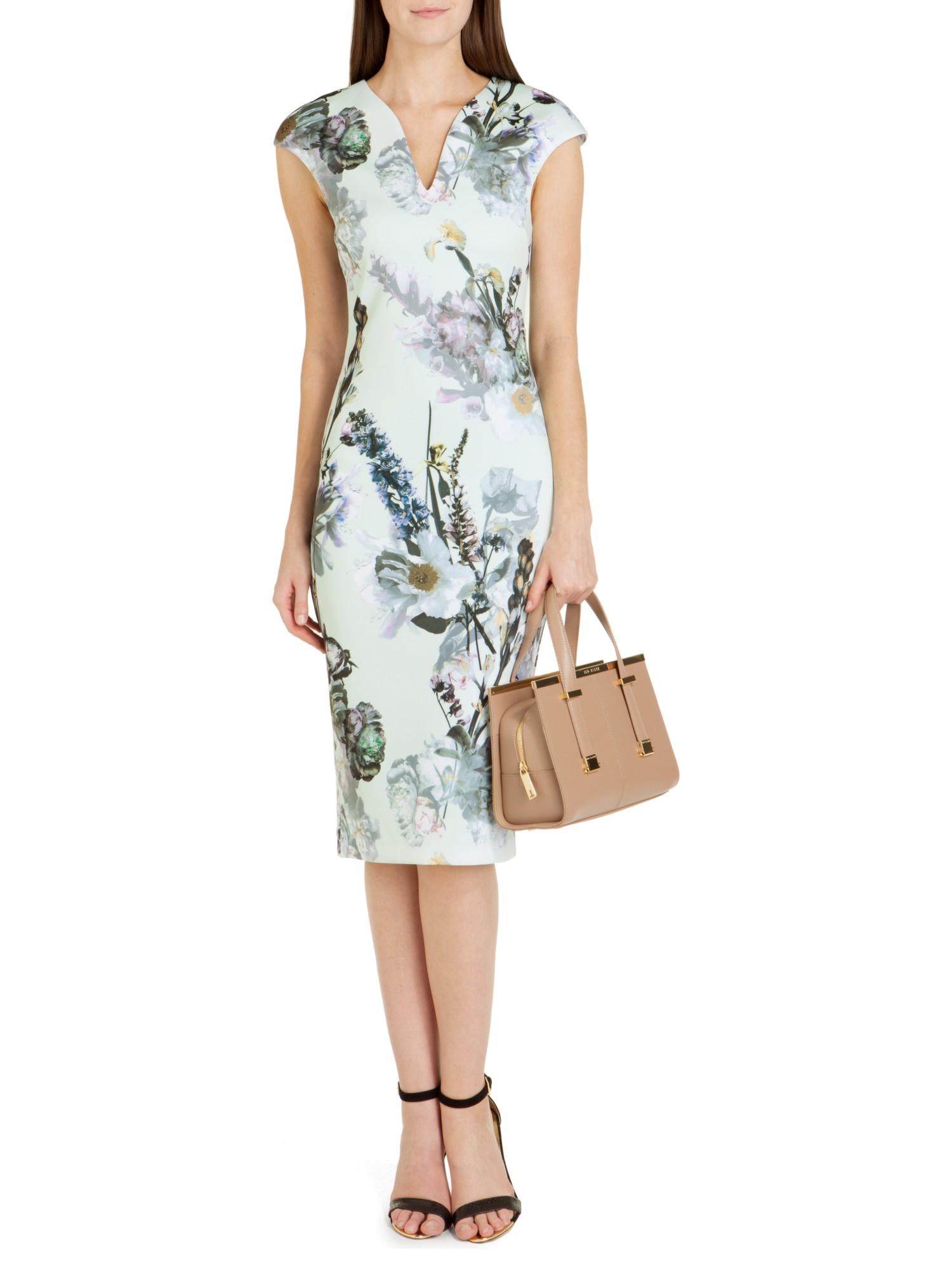 54e68911e Ted Baker Bavaria Floral Midi Dress in Green - Lyst