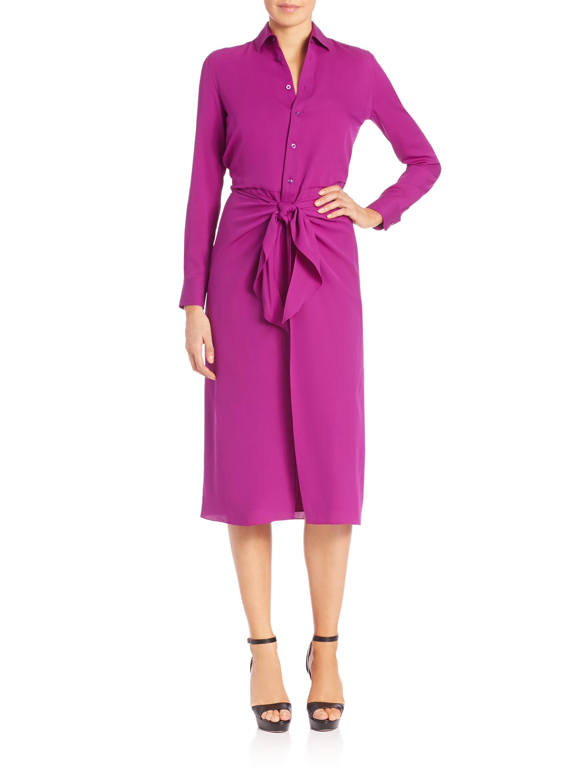 Lyst Ralph Lauren Collection Alaina Silk Shirtdress In Purple