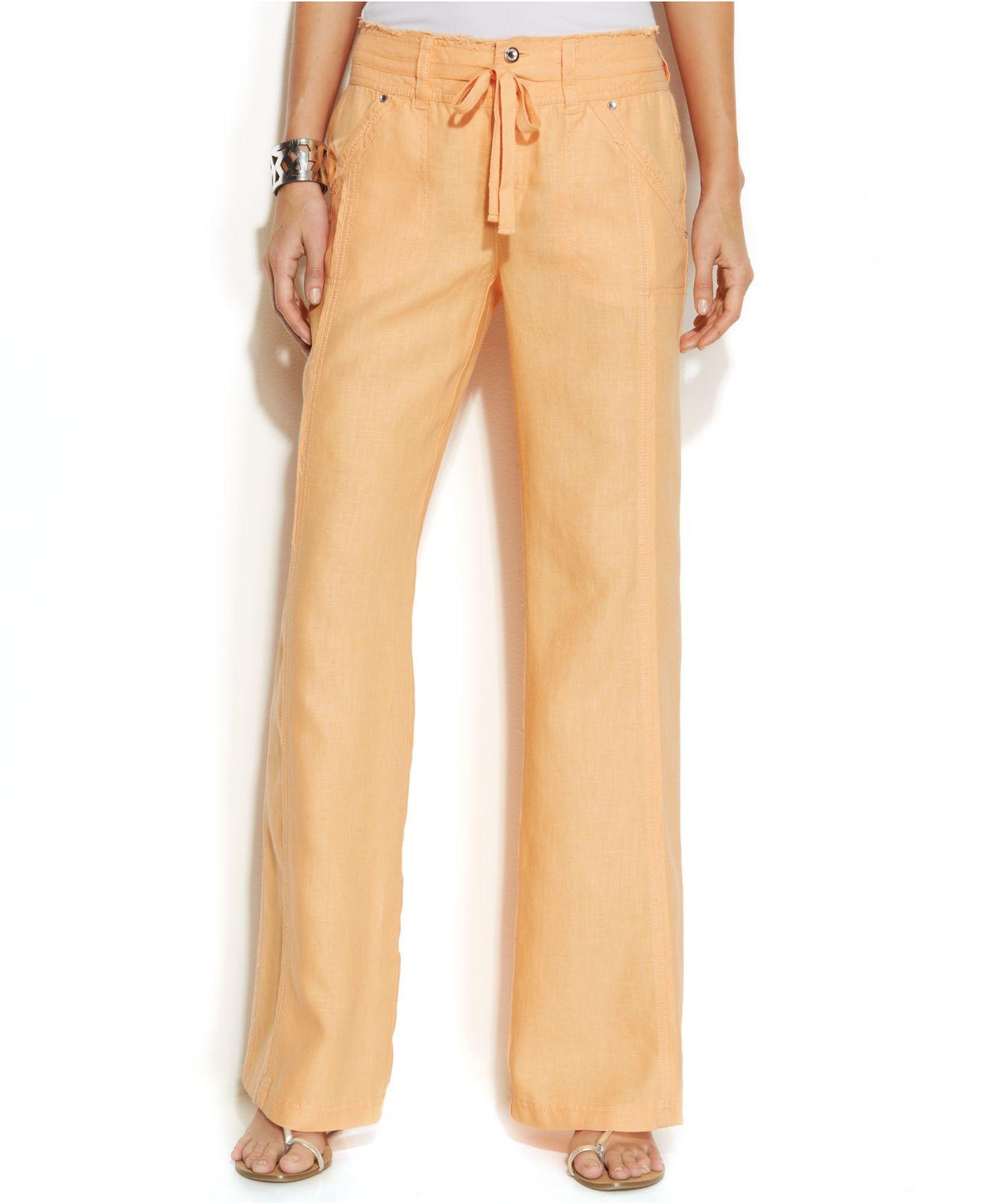 Inc international concepts Wide-Leg Linen Pants in Orange | Lyst