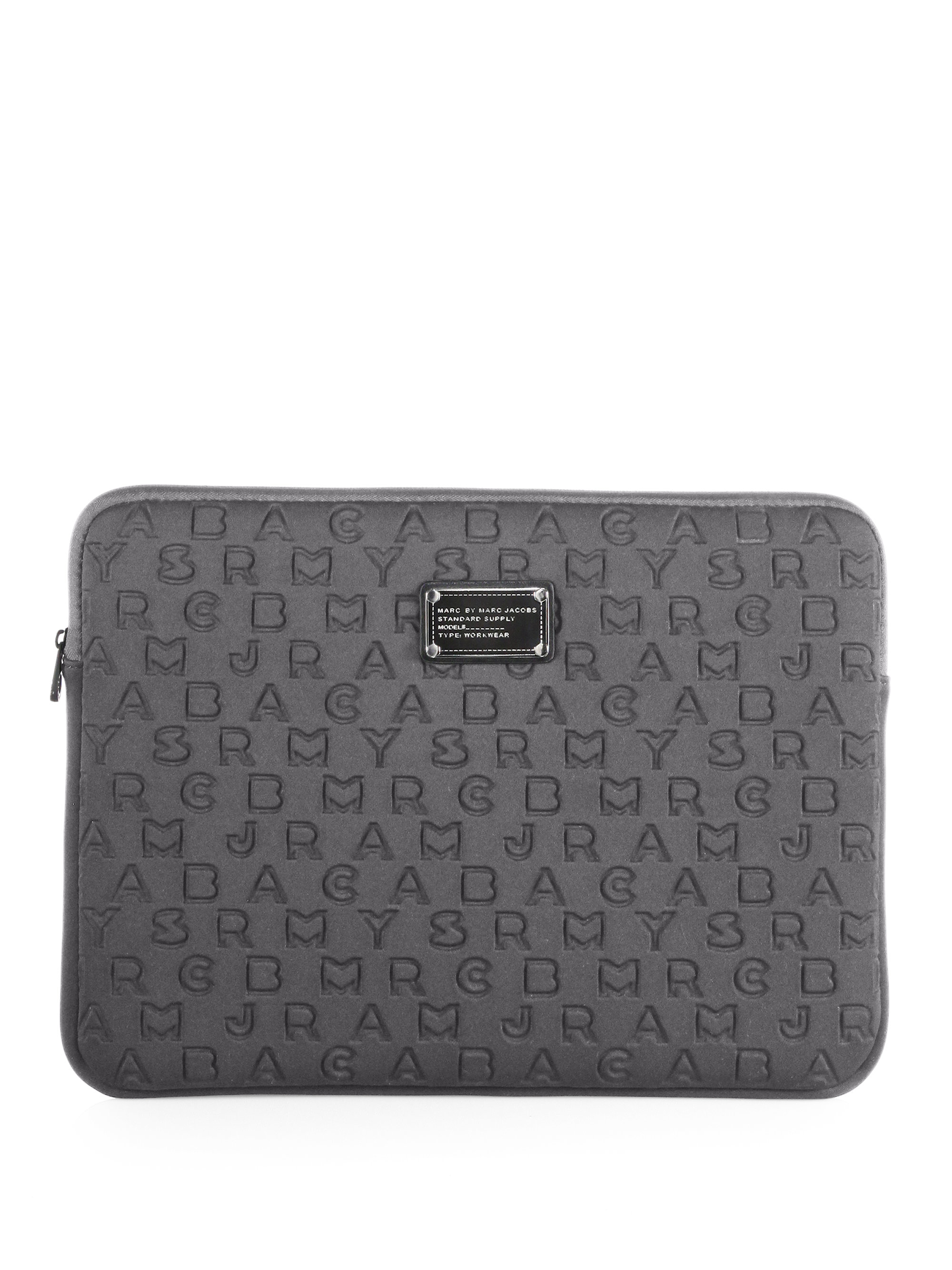 marc by marc jacobs dreamy logo neoprene 15 laptop case in gray lyst. Black Bedroom Furniture Sets. Home Design Ideas