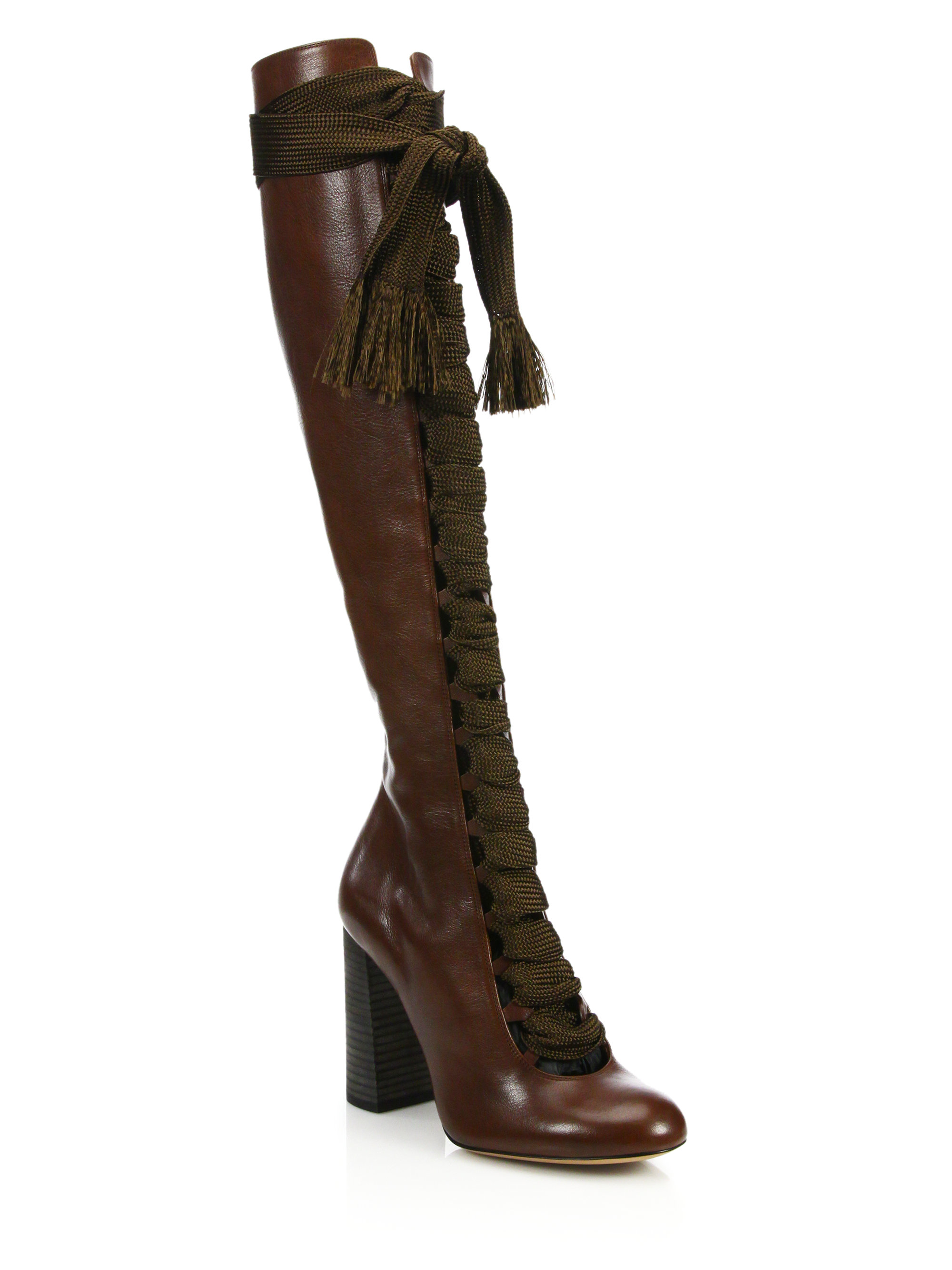 chlo 233 lace up leather boots in brown lyst