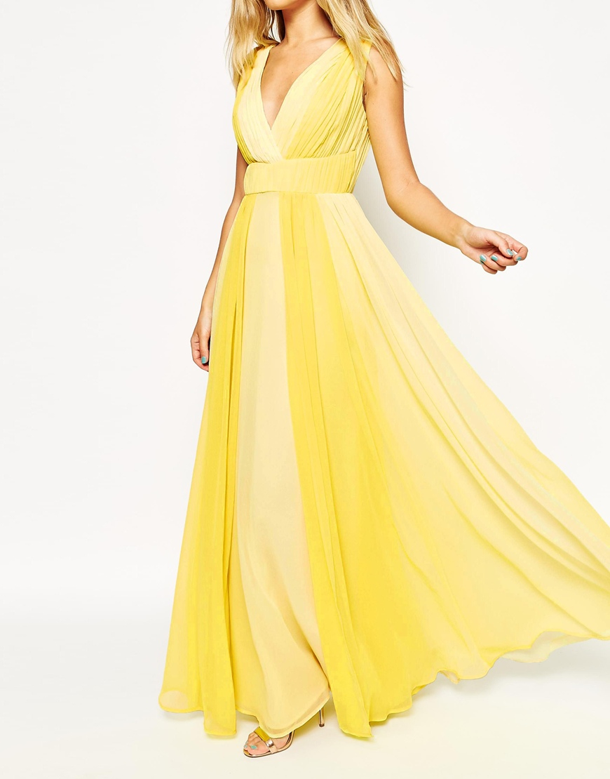 Asos Ombre Cross Front Maxi Dress In Yellow Lyst