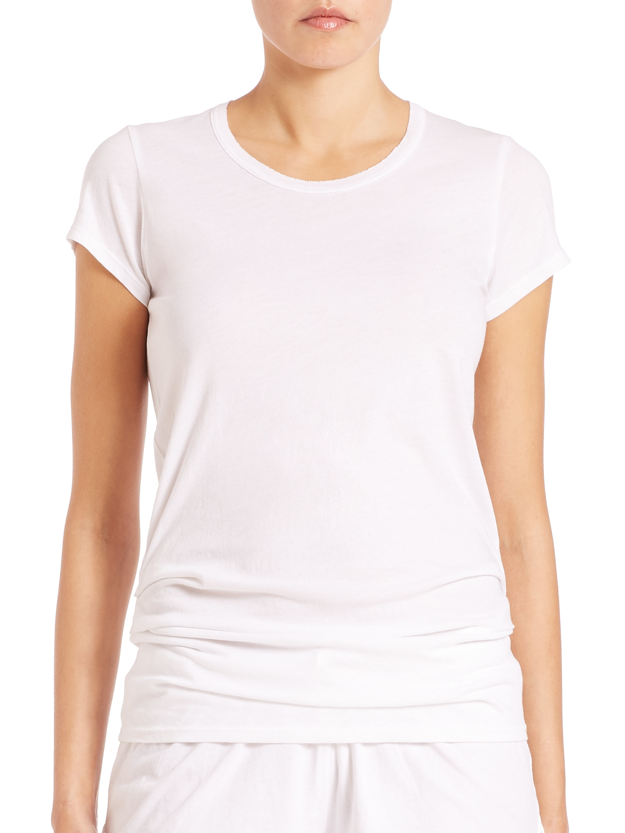 Try our super soft tees made of Pima cotton from Peru. The feminine necklines and effortless drapes make these essential t-shirts complimentary to a variety of body types. Try our super soft tees made of Pima cotton from Peru. The feminine necklines and effortless drapes make these essential t-shirts complimentary to a variety of body types.
