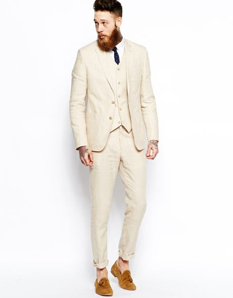 Asos Slim Fit Suit Trousers In 100 Linen In Beige For Men