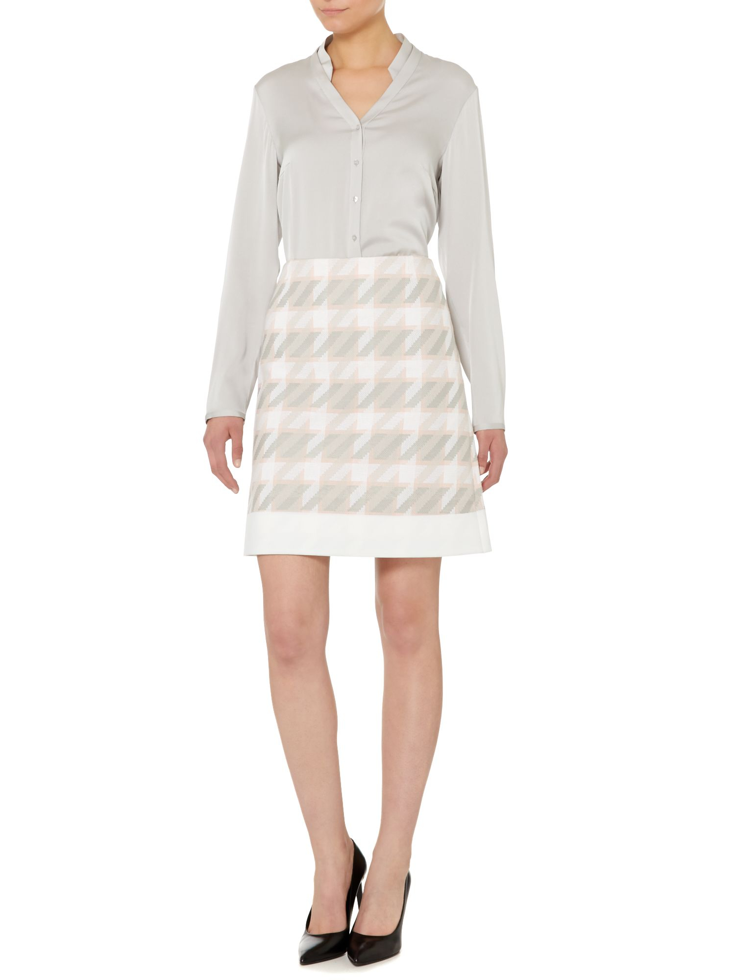 viemoni a line check print pencil skirt in lyst