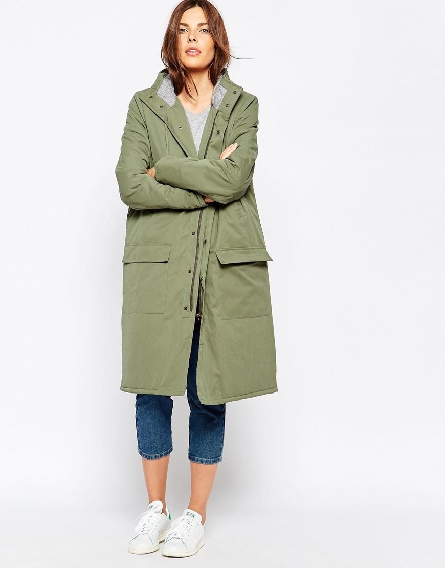 Ganni Long Zip Front Parka in Green | Lyst