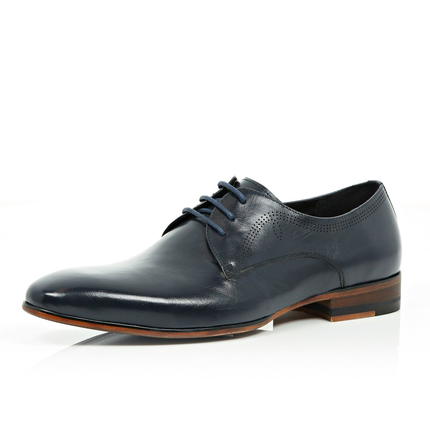 river island navy leather laser cut formal shoes in blue