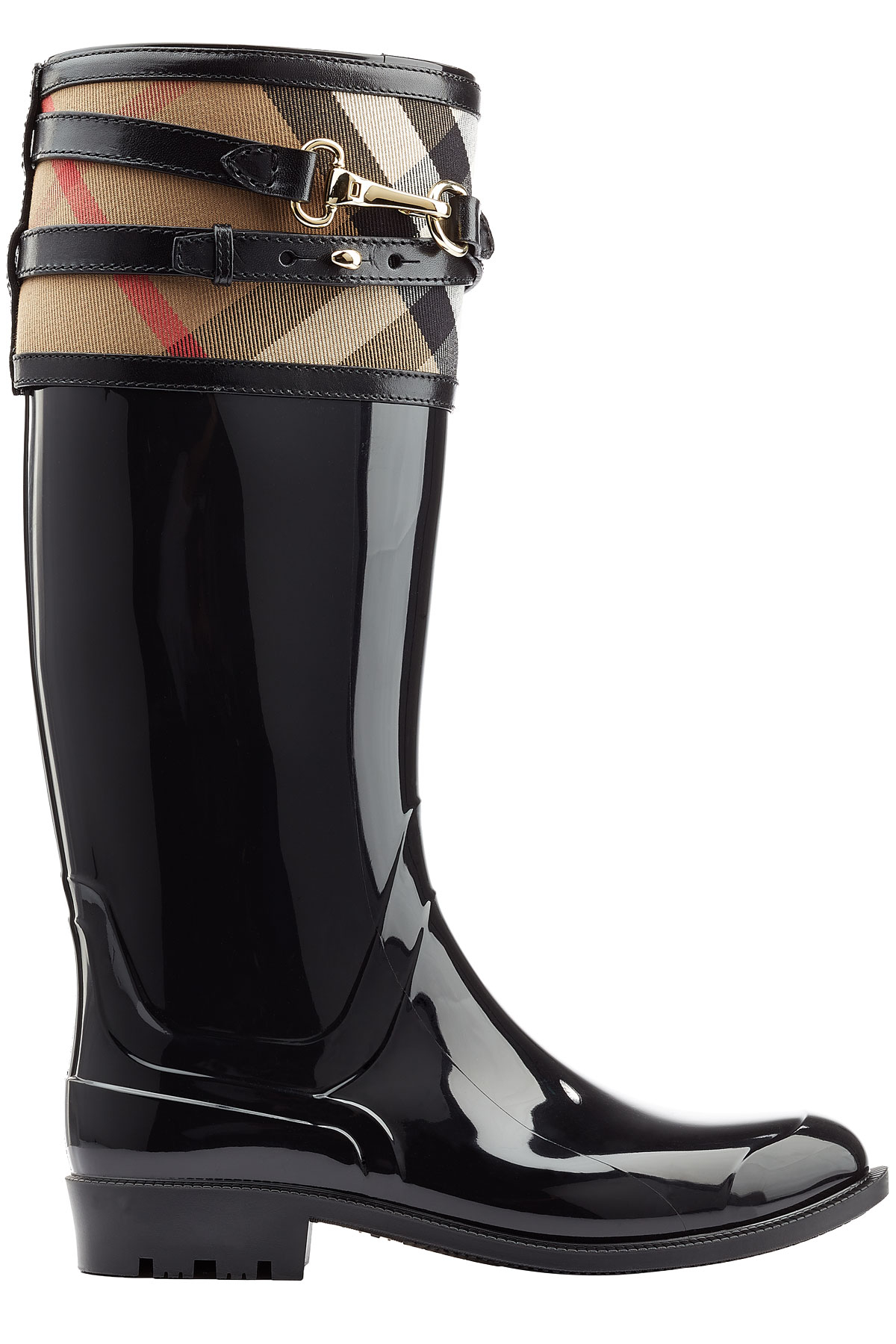 Burberry Rubber Boots With Check Trim Black In Black Lyst