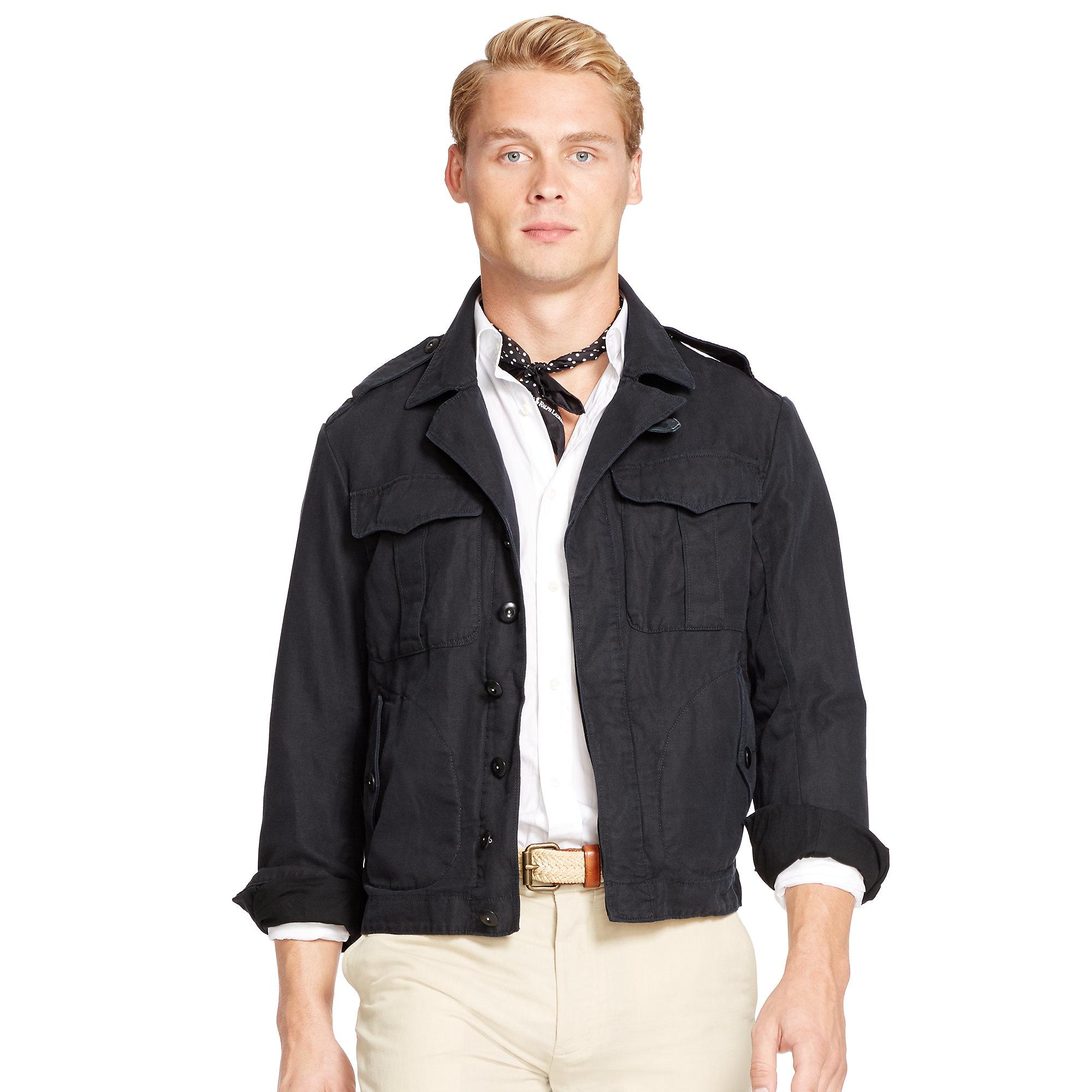 Polo ralph lauren Cotton-linen Flight Jacket in Black for Men | Lyst
